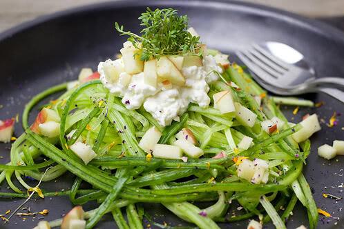 Rezept Gurken-Apfelsalat mit Joghurt-Hüttenkäse-Dressing